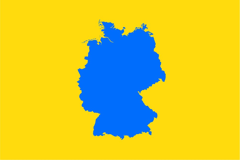 Map with a yellow background and a blue country