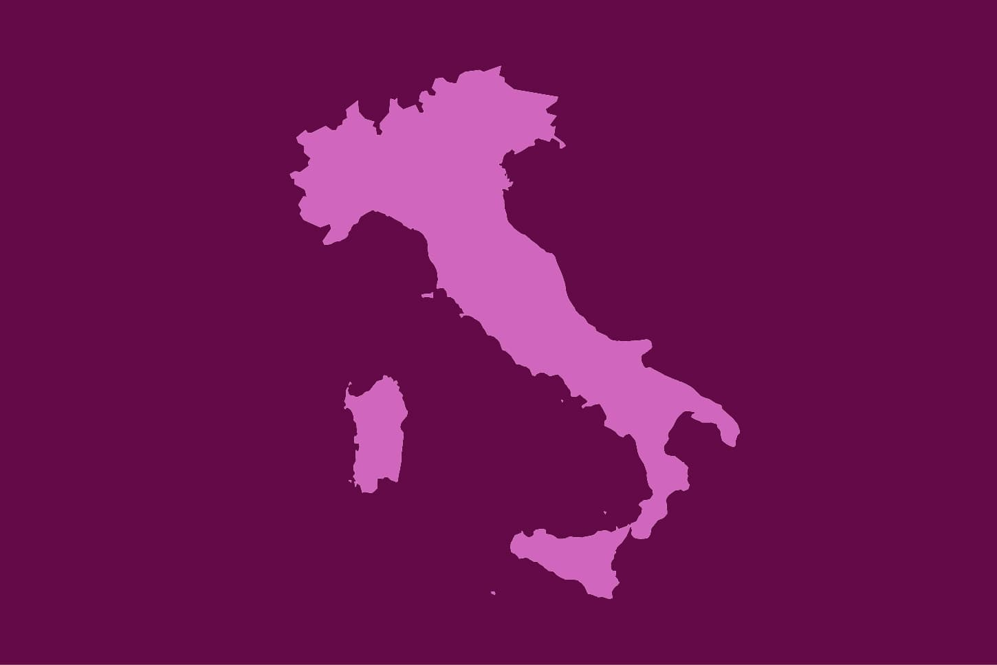 Map image of Italy in shades of purple