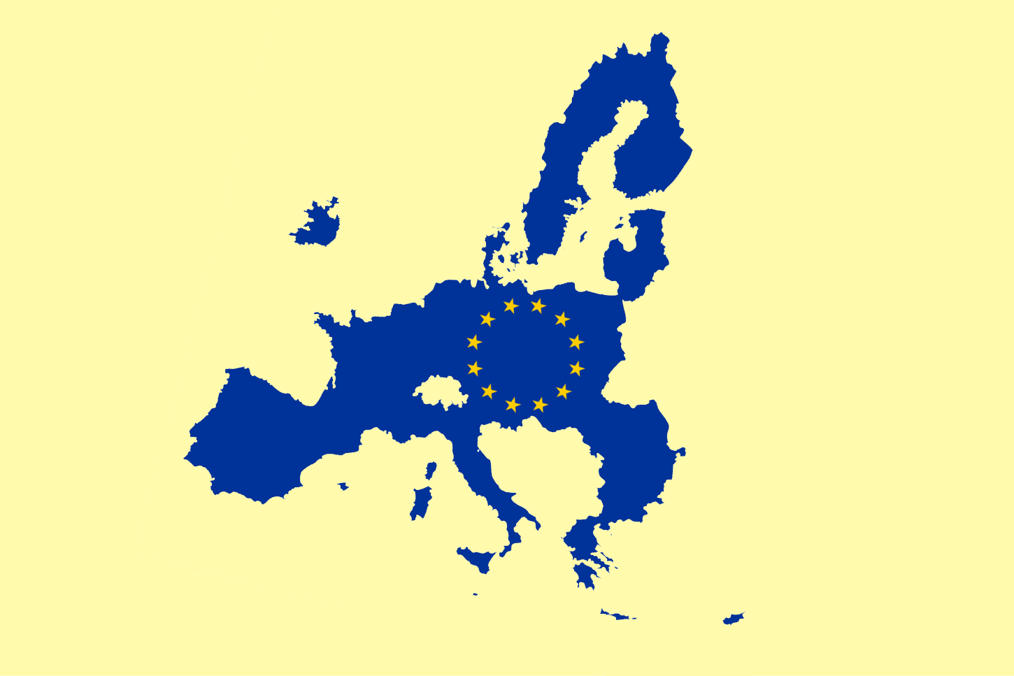 Blue and yellow map of EU